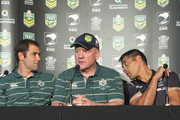 (L-R) Australia captain Cameron Smith, coach Tim Sheens and New Zealand coach Stephen Kearney at a press conference ahead of the international Test match at Suncorp Stadium on April 30, 2015 in Brisbane, Australia.