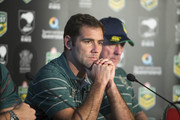 (L-R) Australian captain Cameron Smith and coach Tim Sheens speak to the media ahead of the international Test match during a press conference at Suncorp Stadium on April 30, 2015 in Brisbane, Australia.