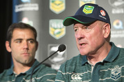 (L-R) Australia coach Tim Sheens and captain Cameron Smith speak to the media ahead of the international Test match during a press conference at Suncorp Stadium on April 30, 2015 in Brisbane, Australia.