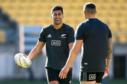 Rieko Ioane and Sonny Bill Williams enjoy a laugh during a New Zealand All Blacks Captain's Run at Westpac Stadium on September 14, 2018 in Wellington, New Zealand.