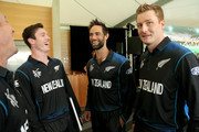 (L to R) Adam Milne, Grant Elliott and Martin Guptill of New Zealand Balck Caps pose during the New Zealand 2015 ICC Cricket World Cup squad announcement at Hagley Oval on January 8, 2015 in Christchurch, New Zealand.