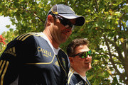 Mark Boucher (L) and Graeme Smith arrive at the South African national cricket team nets session and press conference at Claremont Cricket Club on January 17, 2013 in Cape Town, South Africa.