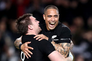 Liam Squire of the All Blacks (L) is congratulated on his try by Aaron Smith (R)  during The Rugby Championship game between the New Zealand All Blacks and the Australia Wallabies at Eden Park on August 25, 2018 in Auckland, New Zealand.