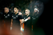 Sonny Bill Williams, Rieko Ioane, T J Perenara and Liam Coltman of the All Blacks sing the anthem during the International Test match between the New Zealand All Blacks and France at Forsyth Barr Stadium on June 23, 2018 in Dunedin, New Zealand.