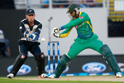 Shoaib Malik of Pakistan bats during the first T20 match at Eden Park on January 15, 2016 in Auckland, New Zealand.