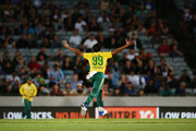 Imran Tahir of South Africa celebrates with teammates for the wicket of Tim Southee of New Zealand during the first International Twenty20 match between New Zealand and South Africa at Eden Park on February 17, 2017 in Auckland, New Zealand.