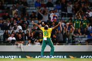 Imran Tahir of South Africa celebrates the wicket of Luke Ronchi of New Zealand during the first International Twenty20 match between New Zealand and South Africa at Eden Park on February 17, 2017 in Auckland, New Zealand.