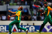 Imran Tahir of South Africa celebrates after taking the wicket of Jesse Ryder of New Zealand during the 2011 ICC World Cup Quarter-Final match between New Zealand and South Africa at Shere-e-Bangla National Stadium on March 25, 2011 in Dhaka, Bangladesh.
