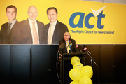 President of the ACT Party John Thompson annouces that Epsom candidate David Seymour looks like winning his seat early in the count on September 20, 2014 in Auckland, New Zealand.  Voters head to the polls today to elect the 51st Parliament of New Zealand.