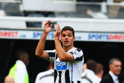 Hatem Ben Arfa of Newcastle United applauds the fans as he celebrates victory during the Barclays Premier League match between Newcastle United and Fulham at St James' Park on August 31, 2013 in Newcastle upon Tyne, England.
