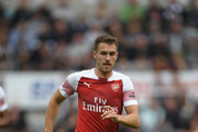 Arsenal player Aaron Ramsey in action during the Premier League match between Newcastle United and Arsenal FC at St. James Park on September 15, 2018 in Newcastle upon Tyne, United Kingdom.