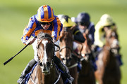 Ryan Moore riding Just Wonderful win The Shadwell Rockfel Stakes at Newmarket Racecourse on September 28, 2018 in Newmarket, United Kingdom.