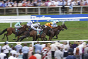 Paul Hanagan riding Burnt Sugar (R, light blue) win The bet365 Bunbury Cup Handicap Stakes at Newmarket Racecourse on July 14, 2018 in Newmarket, United Kingdom.