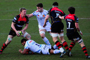 Dragons forward Andy Powell (l) in action during the LV= Cup group match between Newport Gwent Dragons and Exeter Chiefs on February 1, 2015 in Newport, Wales.