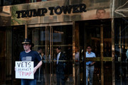 Members of a veterans group called Common Defense protest against President Donald Trump in front of Trump Tower on July 25, 2019 in New York City. The group of veterans, many who served in recent wars in Iraq and Afghanistan, want to impeach Trump for the way way he has performed in office.