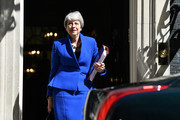 Prime Minister Theresa May leaves 10 Downing Street for her final PMQ's on July 24, 2019 in London, England. Theresa May has been leader of the Conservative Party since 13th July 2016. Today she makes her final statement to the country as British Prime Minister. Boris Johnson, MP for Uxbridge and South Ruislip, was elected leader of the Conservative and Unionist Party yesterday receiving 66 percent of the votes cast by Conservative party members. He is due to take the office of Prime Minister this afternoon after Theresa May takes questions in the House of Commons for the last time.