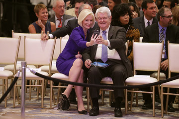 Newt Gingrich Donald Trump Holds Ribbon Cutting Ceremony For The Trump International Hotel In Washington, D.C.