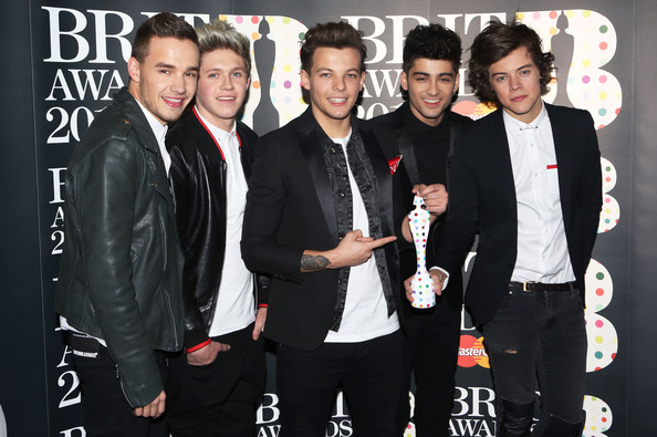 The One Direction boys celebrate their win at The BRITs on Wednesday