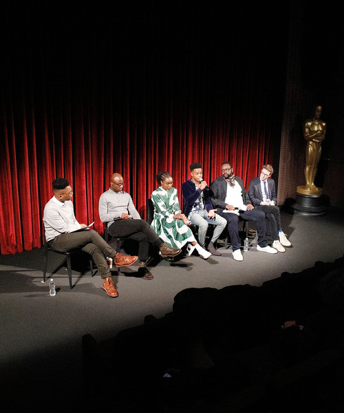 The Academy Of Motion Picture Arts And Sciences Hosts An Official Screening Of 'If Beale Street Could Talk' [barry jenkins,kc ifeanyi,nicholas britell,actors,producer,director,kiki layne,stage,l-r,performance art,performance,performing arts,stage,event,heater,drama,talent show,musical theatre,scene,academy of motion picture arts sciences hosts an official screening of if beale street could talk]