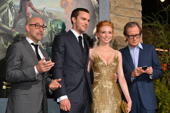 """Premiere Of New Line Cinema's """"Jack The Giant Slayer"""" - Red Carpet [jack the giant slayer,event,suit,formal wear,ceremony,dress,photography,wedding,vision care,tuxedo,glasses,red carpet,actors,nicholas hoult,eleanor tomlinson,stanley tucci,l-r,new line cinema,premiere,premiere]"""