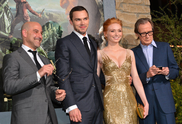 "Premiere Of New Line Cinema's ""Jack The Giant Slayer"" - Red Carpet [jack the giant slayer,facial expression,suit,formal wear,event,fashion,tuxedo,dress,ceremony,fun,smile,red carpet,actors,nicholas hoult,eleanor tomlinson,stanley tucci,l-r,new line cinema,premiere,premiere]"