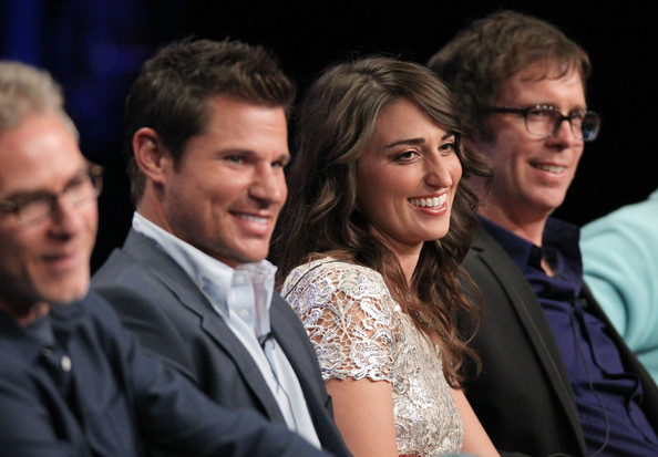 Nick Lachey (L-R) Executive Producer Joel Gallen, host Nick Lachey and judges Sara Bareilles and Ben Folds speak during 'The Sing-Off' panel during the NBC Universal portion of the 2011 Summer TCA Tour held at the Beverly Hilton Hotel on August 1, 2011 in Beverly Hills, California.