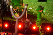 Actors Jason Sudeikis (L) and Josh Gad get slimed onstage during Nickelodeon's 2016 Kids' Choice Awards at The Forum on March 12, 2016 in Inglewood, California.
