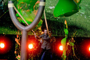 Actor Jason Sudeikis gets slimed onstage during Nickelodeon's 2016 Kids' Choice Awards at The Forum on March 12, 2016 in Inglewood, California.