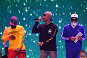 (L-R) Shay Haley, Pharrell Williams and Chad Hugo perform onstage at Nickelodeon's 2018 Kids' Choice Awards at The Forum on March 24, 2018 in Inglewood, California.