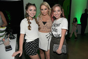 "(L-R) Brooklyn McKnight, Saffron Barker and Bailey McKnight attend the Nickelodeon Kids' Choice Awards ""Slime Soirée"" on March 23, 2018 in Venice, CA."