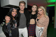 "(L-R) Teala Dunn, Ben Azelart, Jessie Paege and Saffron Barker attend the Nickelodeon Kids' Choice Awards ""Slime Soirée"" on March 23, 2018 in Venice, CA."