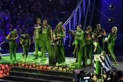 (L-R) Olivia Moultrie, Laurie Hernandez, Ben Simmons, Rob Gronkowski,  host Michael Strahan, Trae Young, Kel Mitchell, Shaun White, David Dobrik, Alysa Liu, P. K. Subban and Lindsey Vonn react after being slimed onstage during Nickelodeon Kids' Choice Sports 2019 at Barker Hangar on July 11, 2019 in Santa Monica, California.