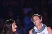Carli Lloyd (L) and Abby Wambach speak onstage at the Nickelodeon Kids' Choice Sports Awards 2015 at UCLA's Pauley Pavilion on July 16, 2015 in Westwood, California.