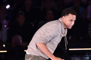 NBA player Stephen Curry (L) accepts the Best Male Athlete Award onstage with Riley Curry at the Nickelodeon Kids' Choice Sports Awards 2015 at UCLA's Pauley Pavilion on July 16, 2015 in Westwood, California.