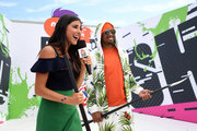 Actor Daniella Monet (L) and TV personality Nick Cannon attend Nickelodeon Kids' Choice Sports Awards 2017 at Pauley Pavilion on July 13, 2017 in Los Angeles, California.