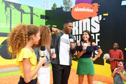 TV personality Michael Strahan (C) with (L-R) Sophia Strahan, Isabella Strahan and actor Daniella Monet attend Nickelodeon Kids' Choice Sports Awards 2017 at Pauley Pavilion on July 13, 2017 in Los Angeles, California.