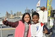 Breanna Yde and Benjamin Flores Jr. attend the Nickelodeon And NFL Play 60 At The Intrepid on September 17, 2013 in New York City.