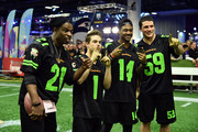 Former NFL player Deion Sanders, actor Ricardo Hurtado and NFL players Stefon Diggs and Luke Kuechly attend the Superstar Slime Showdown taping at Nickelodeon at the Super Bowl Experience on February 1, 2018 in Minneapolis, Minnesota.