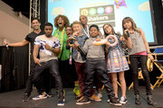 """(L-R) Viner superstar Josh Peck, cast member of Nickelodeon's Game Shakers Kel Mitchell, YouTube sensation GloZell, a fan, cast member Thomas Kuc, a fan, and cast members Benjamin """"Lil P-Nut"""" Flores Jr., Madisyn Shipman, and Cree Cicchino speak onstage at VidCon on July 25, 2015 in Anaheim, California. New live-action comedy series set to premiere Saturday, Sept. 12 at 8:30pm"""