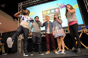 """(L-R) Cast of Nickelodeon's Game Shakers, Kel Mitchell, Benjamin """"Lil P-Nut"""" Flores Jr., Thomas Kuc, Madisyn Shipman, and Cree Cicchino speak onstage at VidCon on July 25, 2015 in Anaheim, California. New live-action comedy series set to premiere Saturday, Sept. 12 at 8:30pm (ET/PT)"""