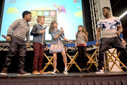 """(L-R) Cast of Nickelodeon's Game Shakers, Benjamin """"Lil P-Nut"""" Flores Jr., Thomas Kuc, Madisyn Shipman, Cree Cicchino, and Kel Mitchell speak onstage at VidCon on July 25, 2015 in Anaheim, California. New live-action comedy series set to premiere Saturday, Sept. 12 at 8:30pm"""