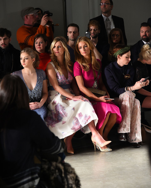 Pamella Roland - Front Row - Fall 2016 New York Fashion Week [event,fashion,fashion design,fun,performance,dress,performing arts,haute couture,dance,performance art,pamella roland,paris hilton,nicky hilton,cory kennedy,willow shields,front row,l-r,pier 59,new york city,new york fashion week]