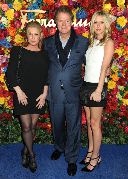 L'Icona Highlighting Launches in NYC [ferragamo celebrates the launch of licona highlighting the 35th anniversary of vara,sleep no more,event,fashion,premiere,dress,suit,carpet,flooring,formal wear,style,thigh,nicky hilton,kathy hilton,rick hilton,l-r,the mckittrick hotel,new york city]
