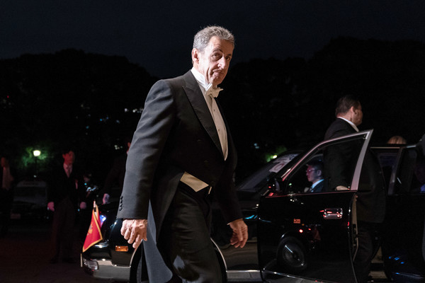 Enthronement Ceremony Of Emperor Naruhito In Japan [enthronement of emperor naruhito,suit,fashion,performance,event,night,vehicle,formal wear,car,photography,musician,nicolas sarkozy,japan,french,imperial palace,tokyo,court banquets,enthronement ceremony of emperor naruhito,ceremony]
