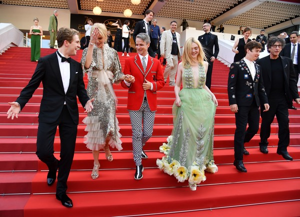 'How to Talk to Girls at Parties' Red Carpet Arrivals - The 70th Annual Cannes Film Festival [how to talk to girls at parties,red carpet,red,carpet,event,fashion,ceremony,flooring,suit,formal wear,dress,red carpet arrivals,abraham lewis,alex sharp,elle fanning,nicole kidman,john cameron mitchell,neil gaiman,british,cannes film festival]