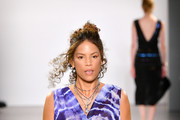 Veronica Webb walks the runway for Nicole Miller during New York Fashion Week: The Shows at Gallery II at Spring Studios on September 08, 2019 in New York City.