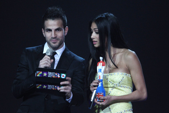 Nicole Scherzinger   Cesc Fabregas and Nicole Scherzinger onstage at The Brit Awards 2012 at The O2 Arena on February 21, 2012 in London, England.