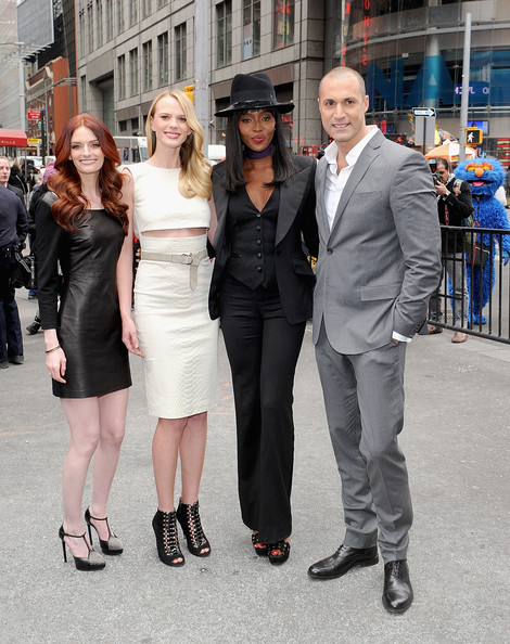 'The Face' Cast Visits the NYSE [the face cast,clothing,fashion,dress,snapshot,event,street fashion,suit,white-collar worker,footwear,leg,nigel barker,naomi campbell,anne v.,lydia hearst,closing bell,ringing,l-r,new york city,nyse]