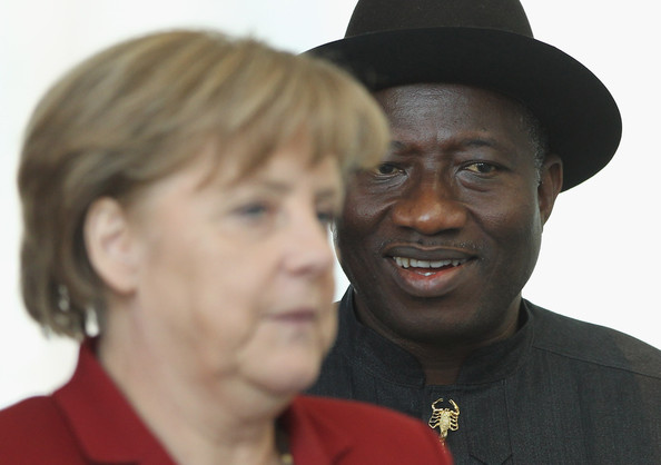 German Chancellor Angela Merkel and Nigerian President Goodluck Jonathan arrive to speak to the media following talks at the Chancellery on April 19, 2012 in Berlin, Germany. The two leaders discussed economic cooperation between their two countries as well as security issues.
