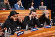 (L-R)  Keenan Thompson, Seth Meyers, and Larry David attend The Night Of Too Many Start Live Telethon on March 8, 2015 in New York City.